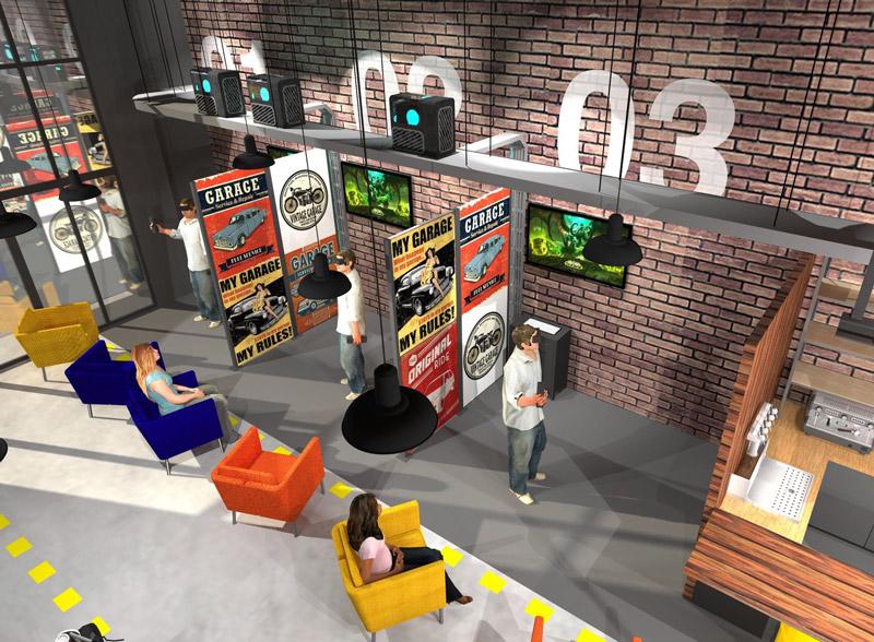 maquette salle arcade vr